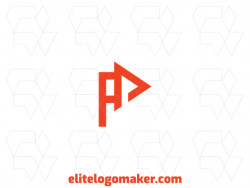 """Vector logo in the shape of a letter """"A"""" combined with a play icon, with minimalist style and red color."""