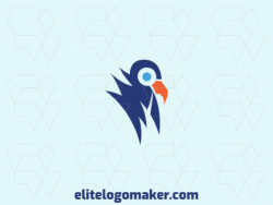 Vector logo in the shape of a bird with an abstract design, the colors used are orange and blue.