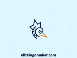 Logo design available in the form of a bird combined with a crown with abstract style with yellow and blue colors.