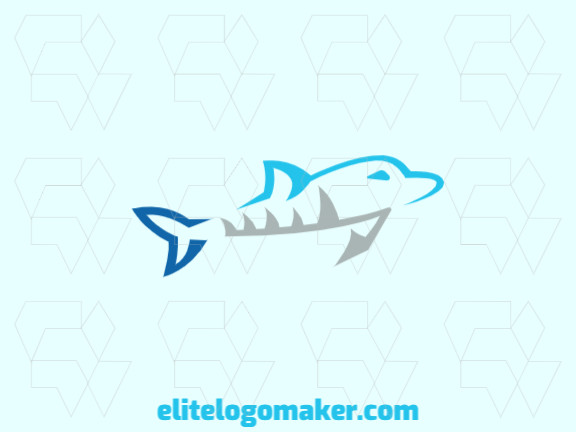 Abstract logo in the shape of a dolphin with blue and gray colors, this logo is ideal for various types of business.