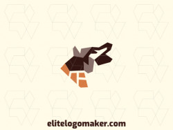 Animal logo composed of abstract shapes forming a wolf with orange and brown colors.