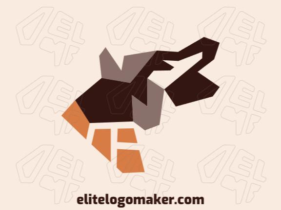 Logotipo elegante com formas abstratas formando um lobo com design minimalista e cores marrom e laranja.