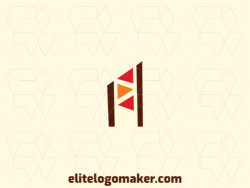 """Simple logo in the shape of a letter """"A"""" combined with flags composed of abstract elements with orange, red, and brown colors."""