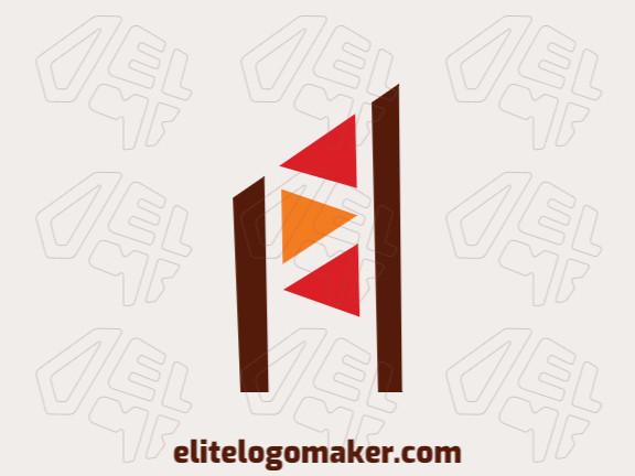 Logotipo criativo com design abstrato formando bandeiras com as cores laranja, vermelho, e marrom.