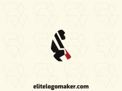 Simple logo design consists of the combination of a gorilla with a shape of a glove with black and red colors.