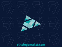 Stylized logo composed of abstract shapes and triangles forming an airplane with blue and gray colors.