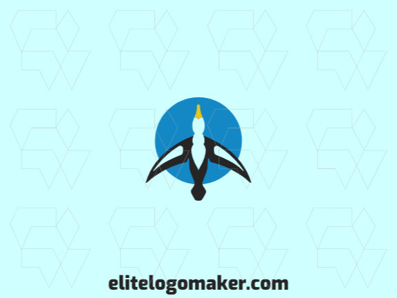 Stylized logo design in the shape of an albatross combined with a circle with black, yellow and blue colors.