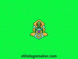 Vector logo in the shape of an alien with abstract style with green, red, yellow, orange, and purple colors.