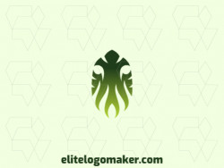 Memorable logo in the shape of an alien, with gradient style, and customizable colors.