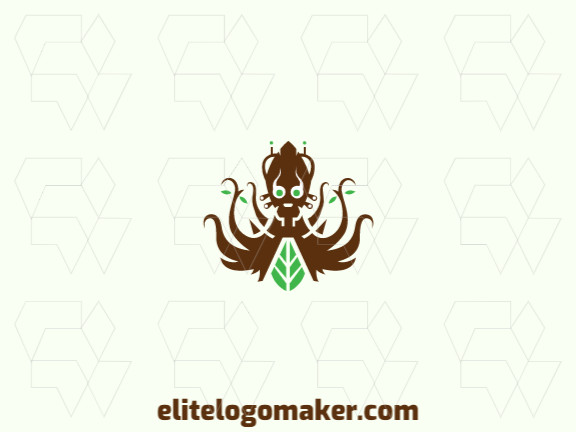 Elegant logo with abstract shapes forming an alien combined with a leaf with symmetry design with brown and green colors.