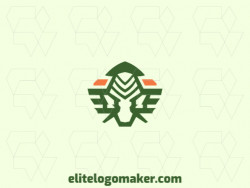 Symmetric logo created with abstract shapes forming an alien with green and orange colors.