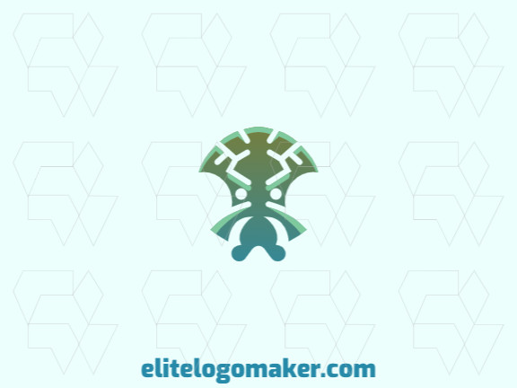 Stylized logo in the shape of an alien composed of abstracts shapes with green and blue colors.
