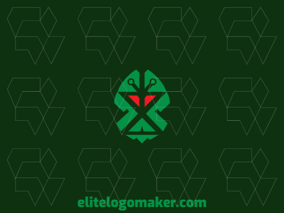 Abstract logo design consists of the combination of an alien with a shape of a brain with green and red colors.