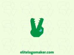 Abstract logo design in the shape of an alligator combined with the peace symbol with blue and green colors.