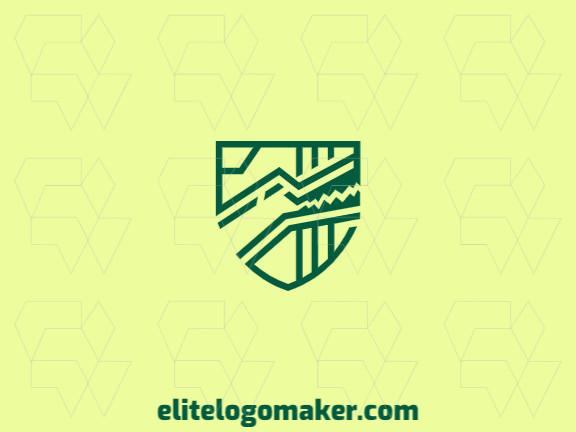 Logotipo abstrato com formas sólidas formando um jacaré mesclado com um escudo com design refinado e cor verde.
