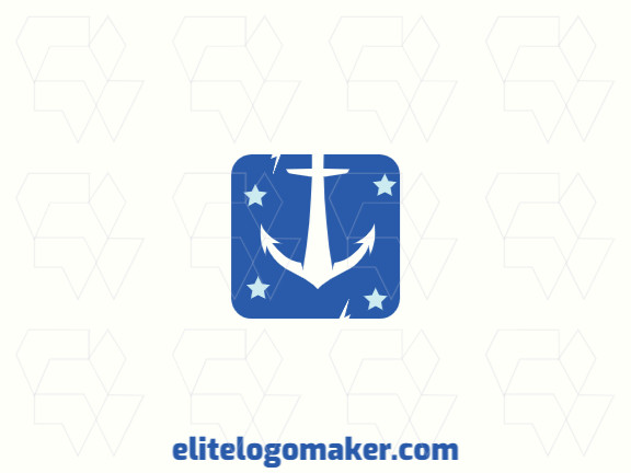 Customizable logo in the shape of an anchor with an simple style, the color used was blue.