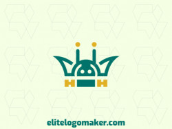 Mascot logo design in the shape of an Android combined with a crown with yellow and green colors.