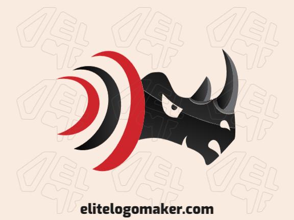 Logotipo composto por formas abstratas formando um rinoceronte com estilo gradiente, as cores utilizadas foi preto e vermelho.