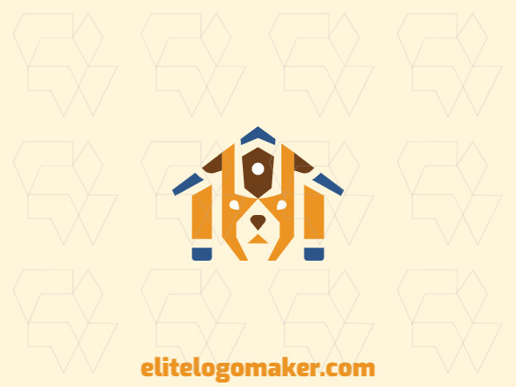 Abstract logo in the shape of a dog combined with a house, the colors used are brown, yellow, and blue.