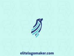 Animal logo design in the shape of a seal (animal) composed of abstract forms and refined design with blue colors.