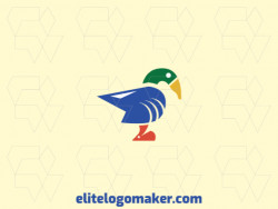 Animal logo in the shape of three animals (Duck, shark, and mouse) composed of simples shapes with blue, green and orange colors.