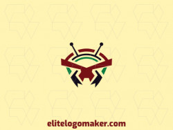 Symmetry logo with creative concept forming an ant with a refined design and green, red, and black colors.