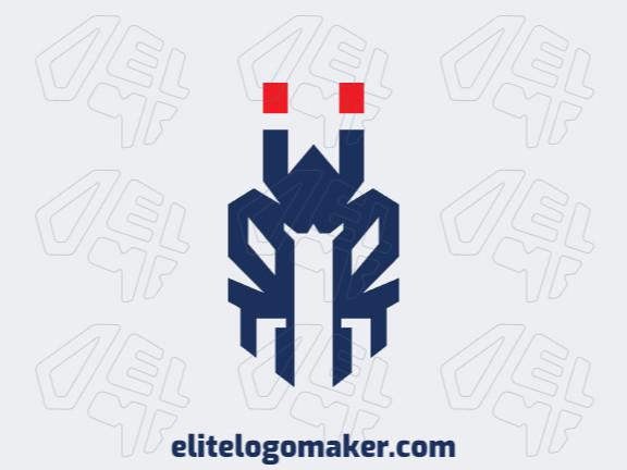 Logotipo moderno grátis com a forma de uma formiga mesclado com um capacete medieval com design profissional e estilo minimalista.