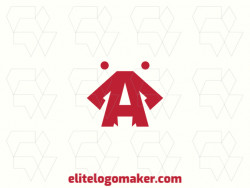 """Logo available for sale in the shape of an ant combined with a letter """"A"""", with abstract style and red color."""