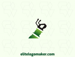 Stylized logo design with the shape of an ant combined with bamboo with green and black colors.
