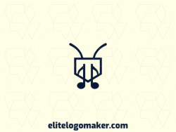 Creative logo in the shape of an ant combined with a musical note, with a refined design and abstract style.