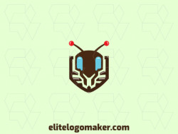Simple logo composed of abstract shapes forming an ant with blue, brown, and orange colors.