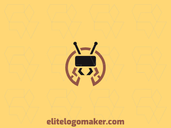 Circular company logo in the shape of an ant combined with a virtual reality glasses with brown and black colors.