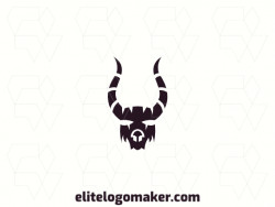 Vector logo in the shape of an antelope, with an abstract style and black color.