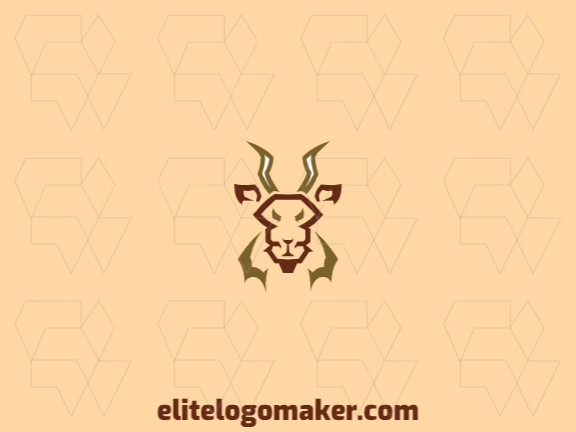 Animal logo with a refined design forming an antelope with green and brown colors.