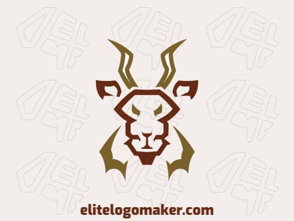 Logotipo vetorial com a forma de uma cabeça de um antílope com design abstrato e cor marrom.