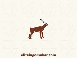 Animal logo design in the shape of an antelope composed of solids shapes with gray, black, and brown colors.