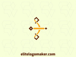 Simple logo composed of abstract shapes and rectangles forming archery with yellow and brown colors.