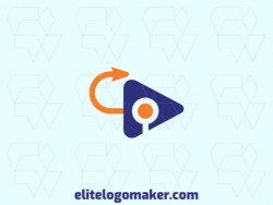 Customizable logo in the shape of an arrow combined with a play, with an abstract style, the colors used was blue and orange.