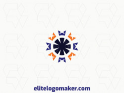 Abstract logo in the shape of an asterisk combined with crowns, with creative design.