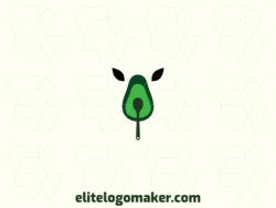 Customizable logo in the shape of an avocado combined with a feline, with creative design and abstract style.