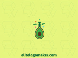 Professional logo in the shape of an avocado combined with a flask with an abstract style, the colors used was green, blue, orange, and yellow.