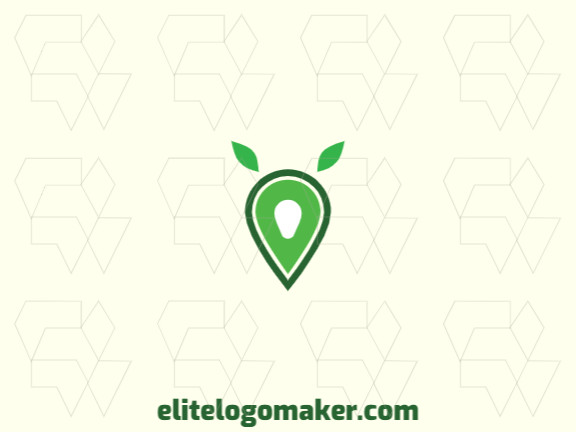 Customizable logo in the shape of an avocado combined with a map, with an abstract style, the color used was green.