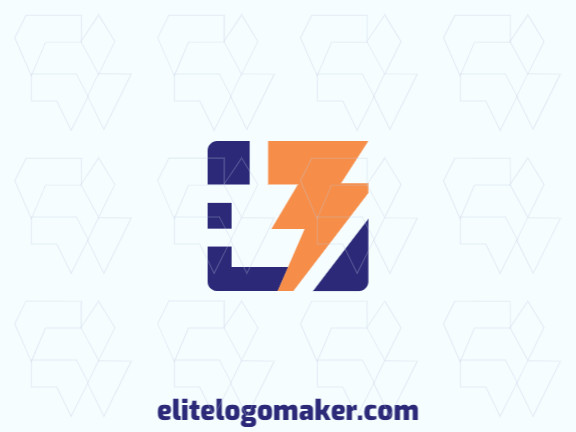 """Ideal logo for different businesses in the shape of a letter """"B"""" combined with a lightning bolt, with creative design and minimalist style."""