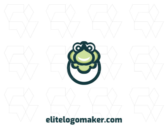 Animal logo in the shape of a stylized turtle head combined with an egg with green colors.