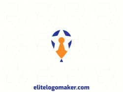 Exclusive logo in the shape of a ballon combined with a star and a door lock, with abstract design with blue and orange colors.