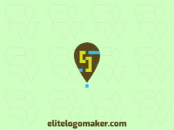 """Simple logo in the shape of a map icon combined with a letter """"S"""", the colors used are brown, green, and blue."""