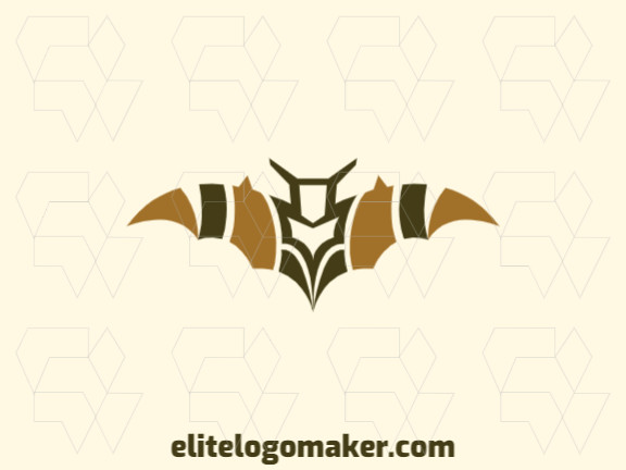 Mascot logo in the shape of a bat with green and brown colors, this logo is ideal for various types of business.