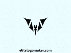 Exclusive logo in the shape of a bat, with abstract design and black color.