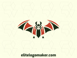 Logo created with abstract style forming a bat with wings spread with colors green and orange.