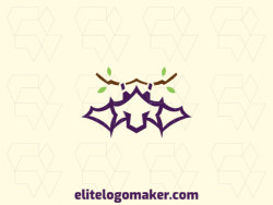 Abstract logo with the shape of a bat combined with a twig with purple and green colors.